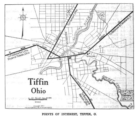 A layout of Tiffin, OH along with where Fort Ball was located.
