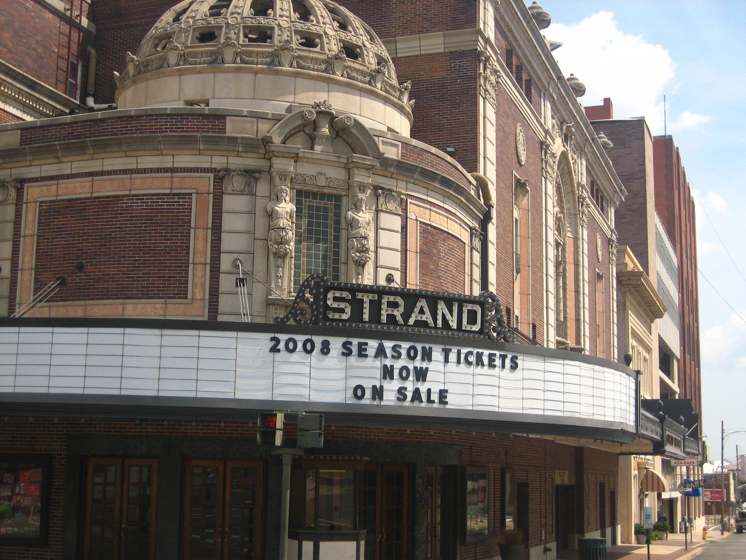 A corner view of The Strand Theatre
