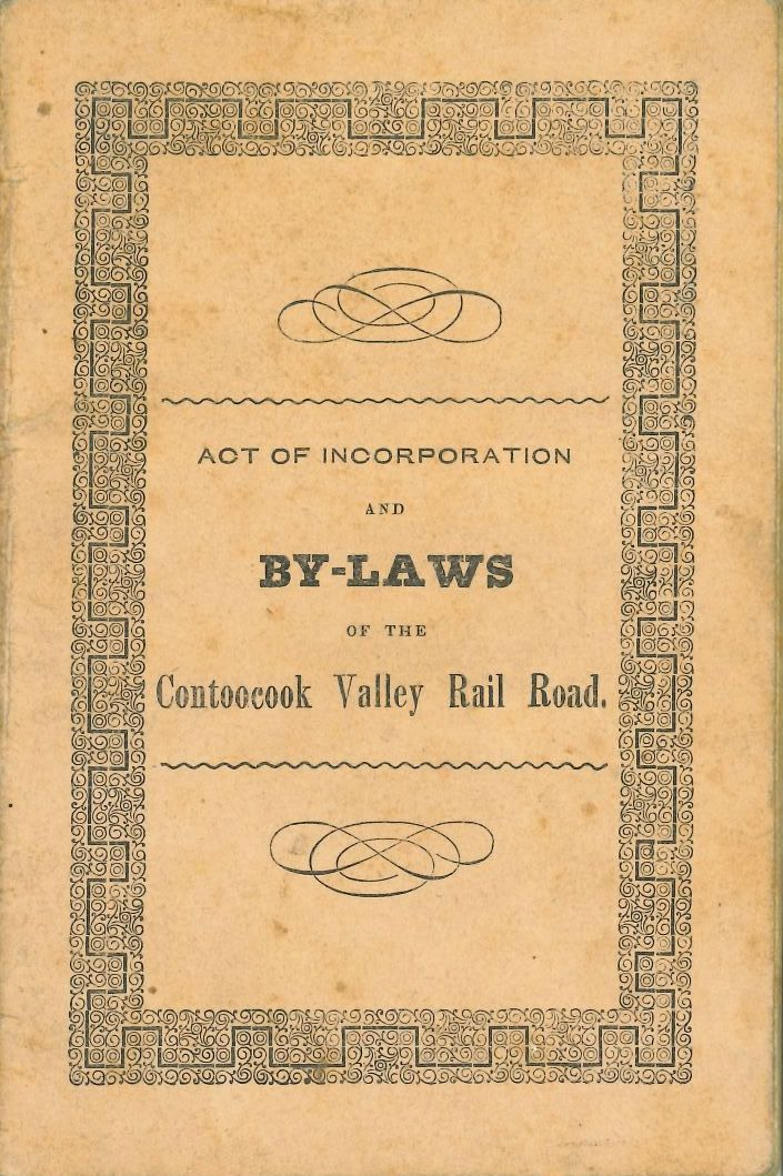 Image of the cover of the By-Laws of the Contoocook Valley Rail Road.