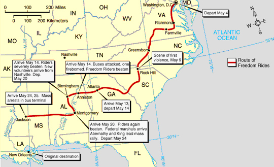 Map Tracing Freedom Rider's Path