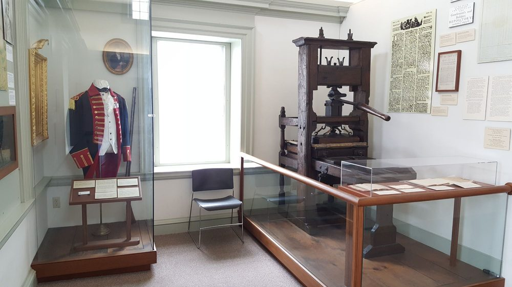 Artifacts on display within the museum, to include James Franklin's c. 1717 printing press.