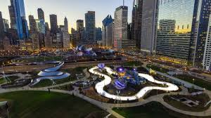 View of Maggie Daley Park and Chicago skyline.