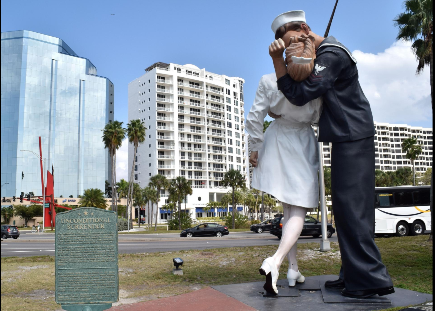 """Pictured is the """"Unconditional Surrender"""" Statue in Sarasota, FL."""