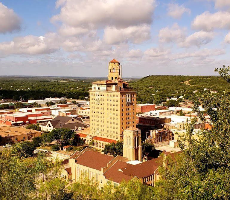 The Baker Hotel is the only member of the Mineral Wells skyline.