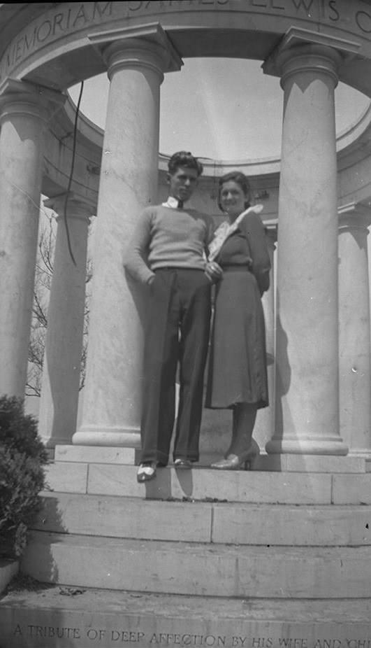 A couple posing at the memorial