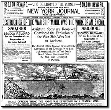 This newspaper article highlights the fact that media utilized fear as a powerful motivator to gain support for a resolution against Spain. For example, it clearly states Spain was at fault, but the true blame of the explosion was never assigned.