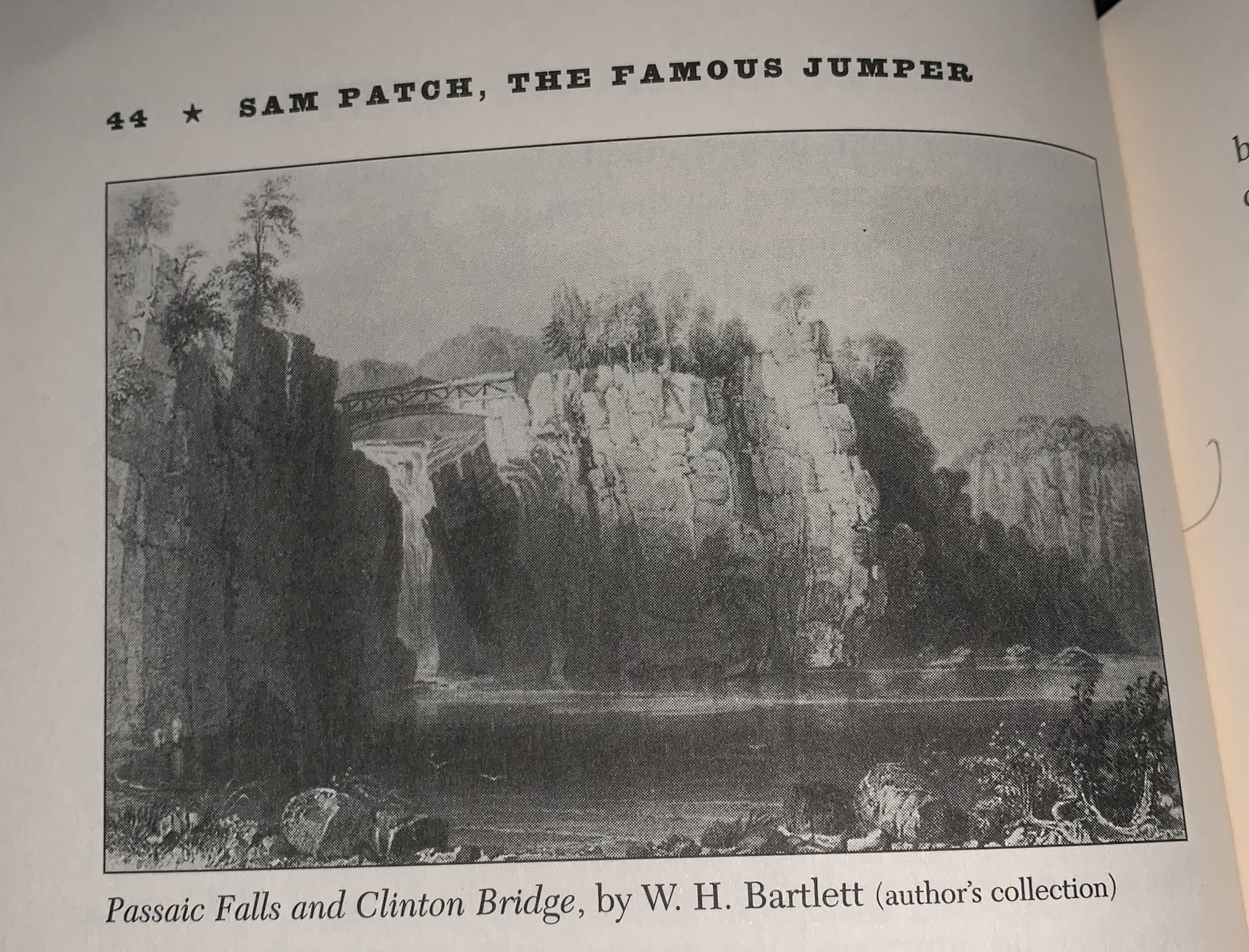 "A historical photo of the falls from the book ""Sam Patch, The Famous Jumper"" by Paul E. Johnson."