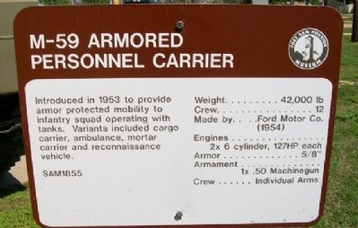 M-59 Armored Personnel Carrier Historical Marker