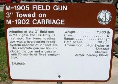 M-1905 Field Gun Historical Marker https://www.hmdb.org/marker.asp?marker=31613