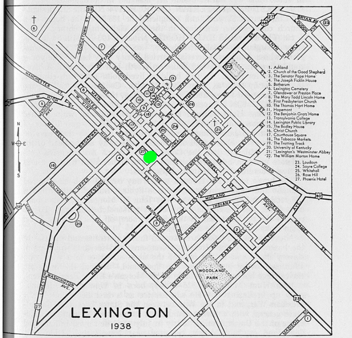 This map indicates where Postlewait's Tavern was located in proximity to other roadways in Lexington. (Green marker)