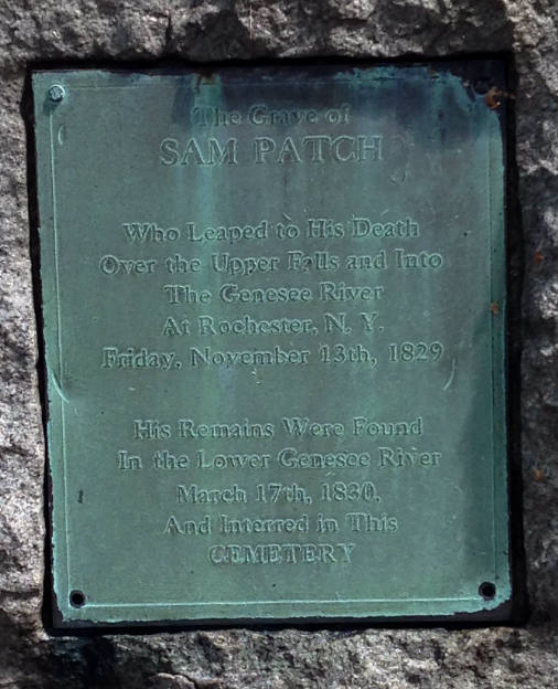 An image of the plaque that is placed on Sam Patch's grave located in Rochester, New York.
