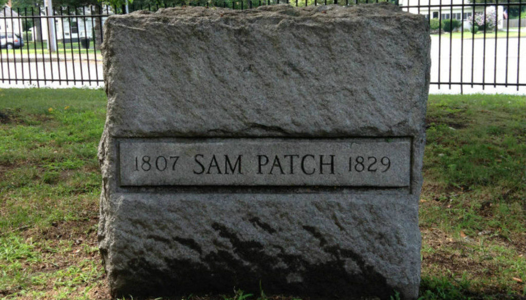 An image of Sam Patch's grave located in Rochester, New York.