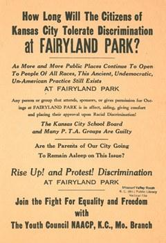 The Youth Council of Kansas City's NAACP chapter produced this flyer to protest discrimination at Fairyland Park. This image can be found in the local history collection of the Kansas CIty Public Library