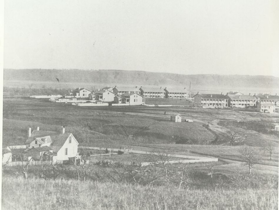 1866 Survey Post Photo graph. One of the earliest photos of Fort Riley.