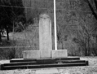 This is an early photo that was taken of the Monument that was established by the Premier Pocahontas Collieries Coal Company.