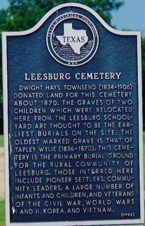 Historic landmark located inside Leesburg cemetery.