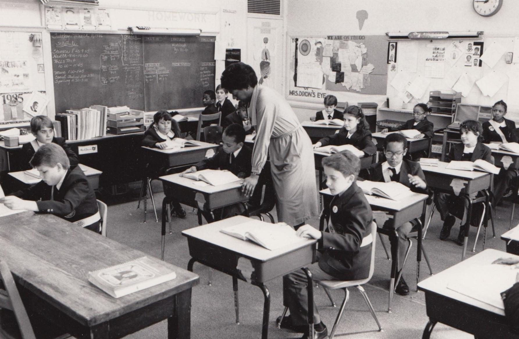 Junior school classroom in 1986.