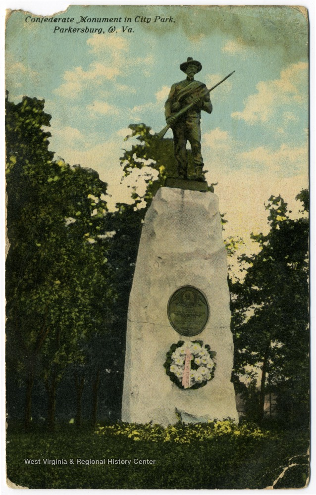 Historic postcard of the Parkersburg Confederate Monument.