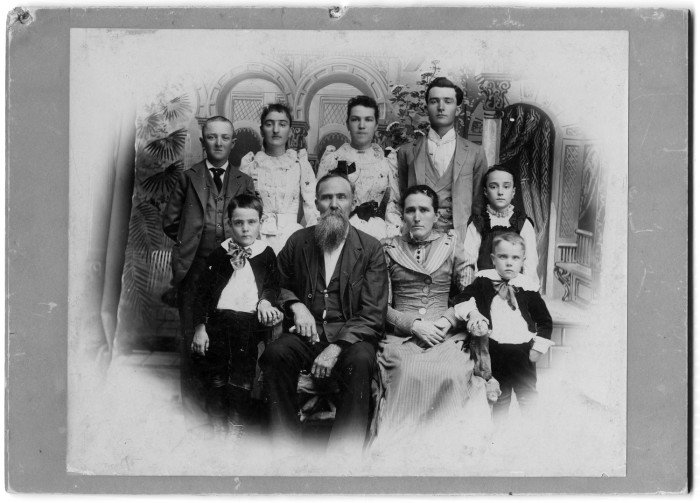Portrait of the Wright Family. William Crow Wright divided up his wealthy estate among his seven children, as well as some of his small farms and land holdings in Denton County.