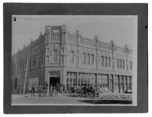 The front of the Wright Opera House in 1900. The opera house opened in February of 1900. Visible is the sign of the Parlin and Orendorff Company that occupied the space below the opera hall.