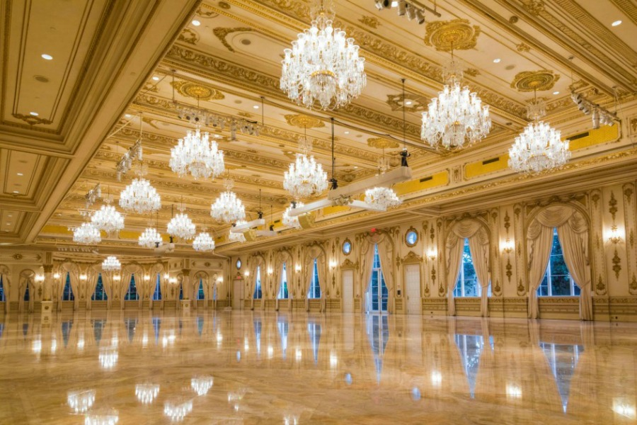 View of the twenty thousand-square-foot Grand Ballroom built in 2005 with twenty-four karat gold leafing. Photo from the Mar-a-Lago website.