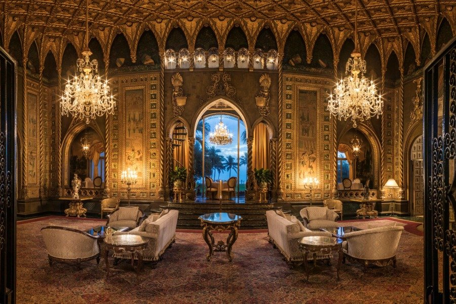 "Living room inside Mar-a-Lago with a gold-leaf ceiling inspired by the Academia's ""Thousand Wing Ceiling"" in Venice. Photo from the Mar-a-Lago website."