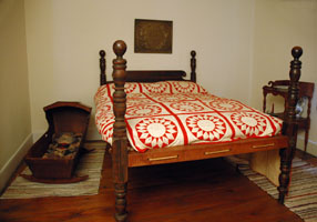 The room where Grover Cleveland was born, recreated to look as it did in 1837