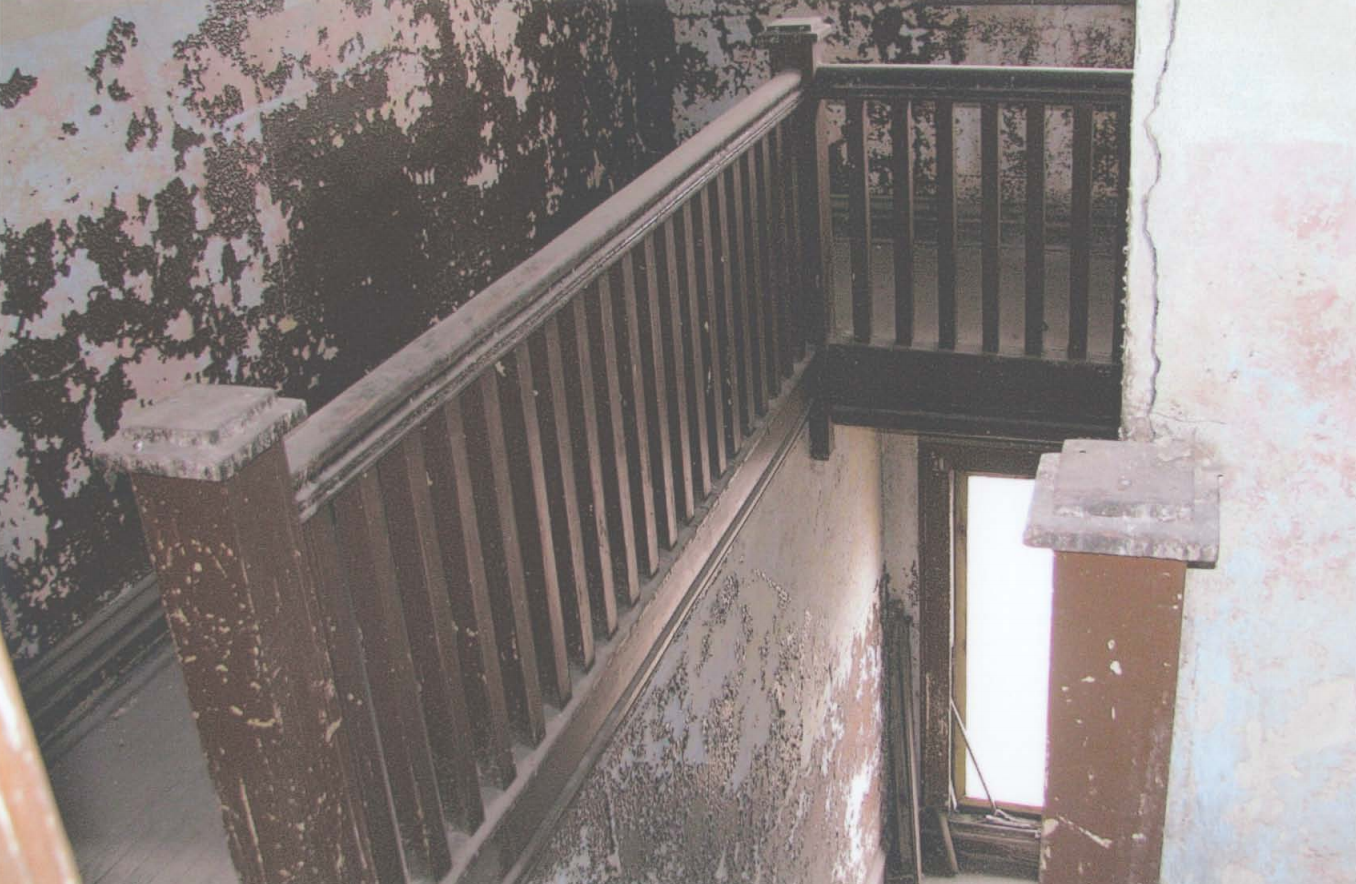 Interior staircase and landing of the hospital, pictured in 2009