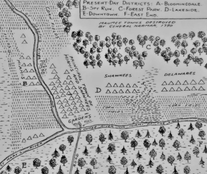 Map of villages burned by General Harmar at Kekionga