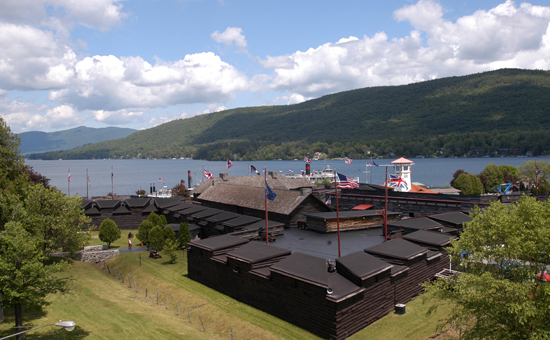 Arial view of the reconstructed Fort William Henry.