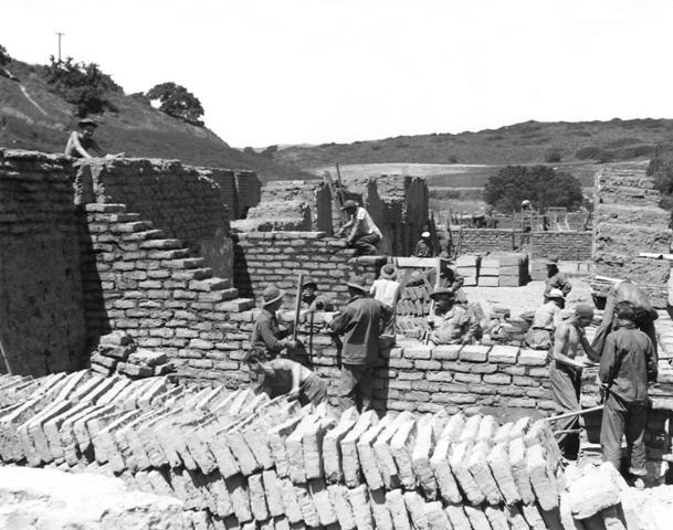 C.C.C. workers rebuilding mission. Taken in 1935