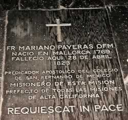 Grave and marker in church of Father Mariano Payeras