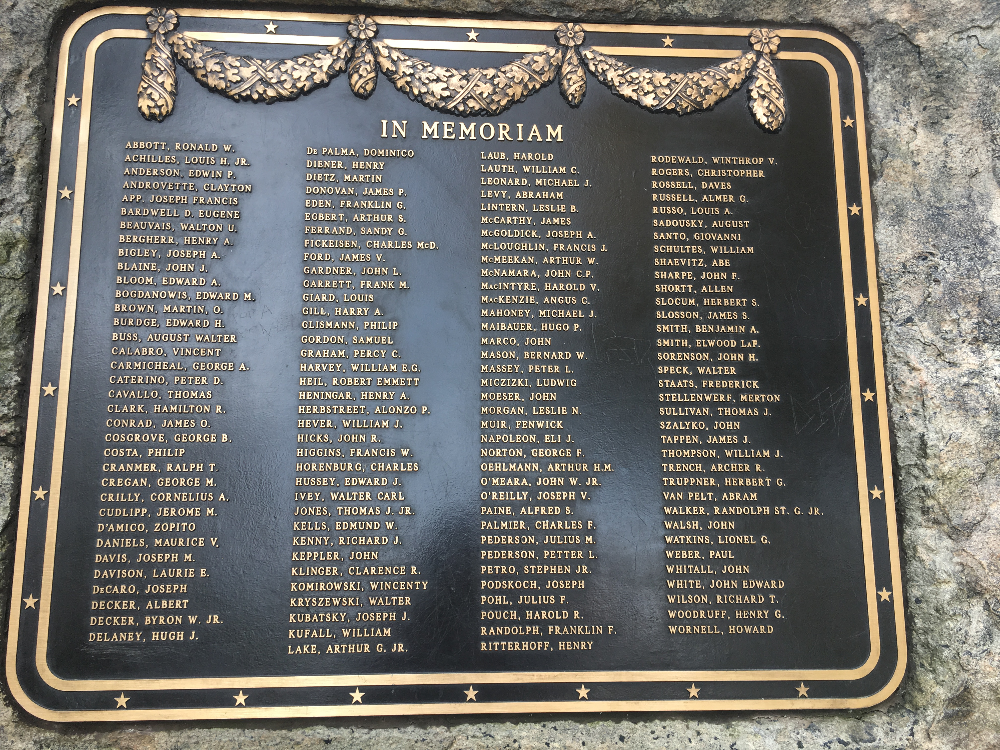 D. The plaque naming each of the Staten Island fallen by name