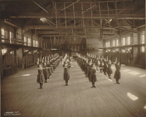 This is Smith College students doing exercises in the Alumnae Gymnasium in 1904.  https://libex.smith.edu/omeka/items/show/205.