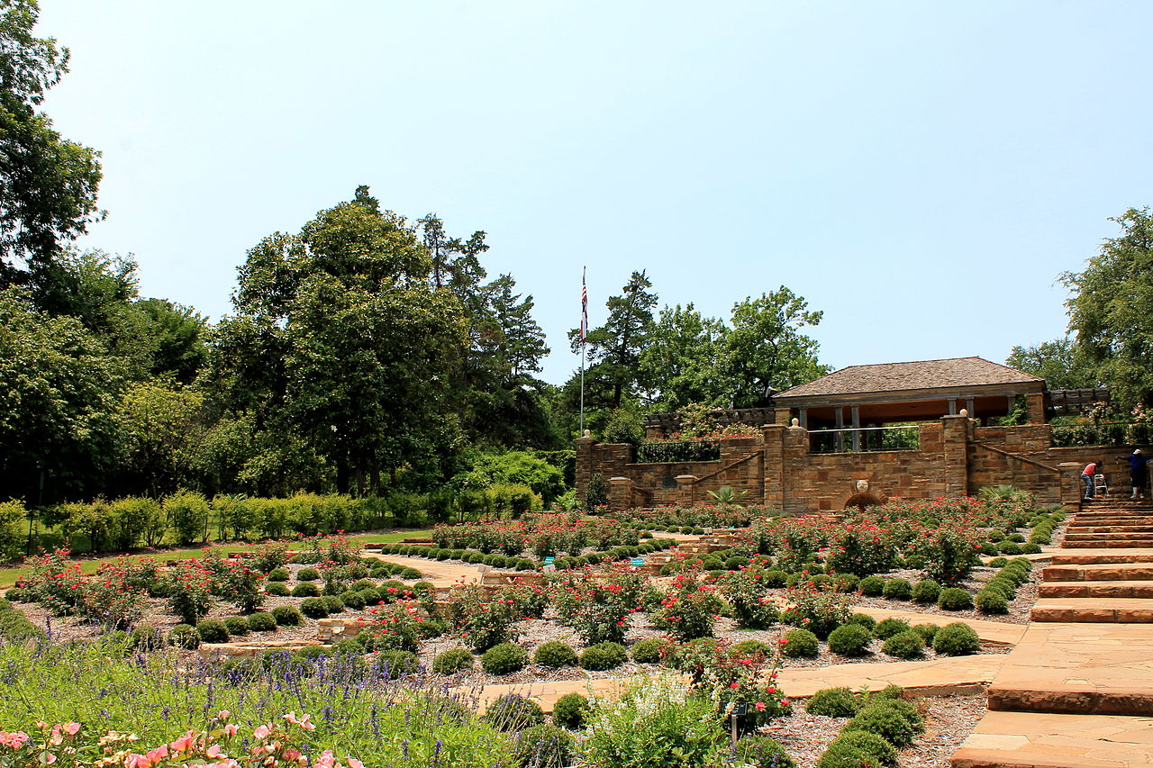 The rose garden is the centerpiece of the Fort Worth Botanic Garden.