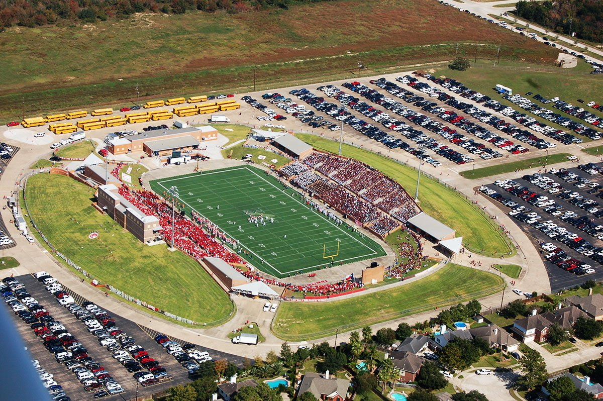 A bird's-eye view of Katy ISD's first stadium, Rhodes Stadium. 