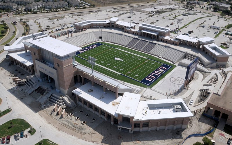 A bird's-eye view of Allen ISD's Eagle Stadium. 