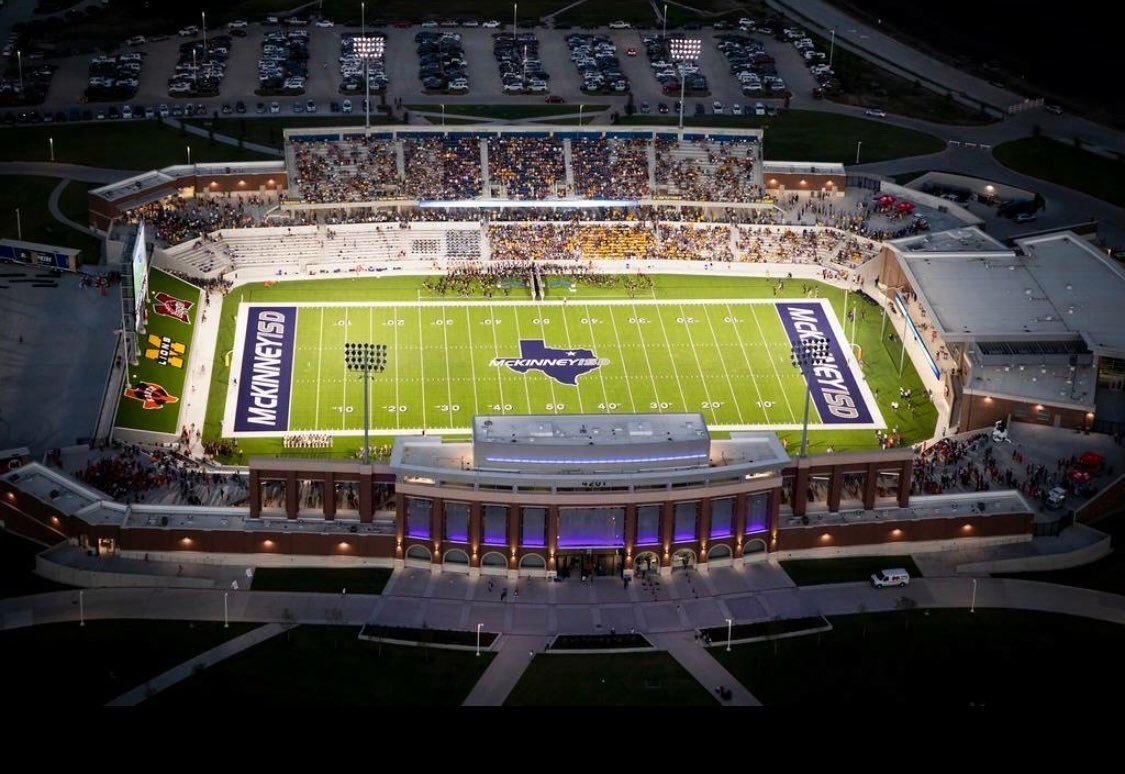 A bird's-eye view of McKinney ISD's newly constructed stadium, McKinney Stadium. 