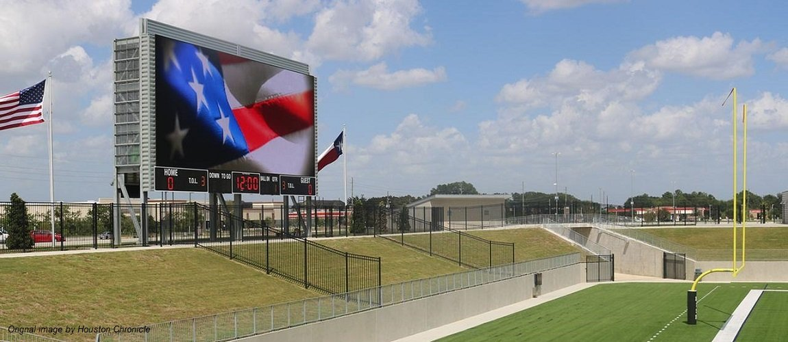 A photo of Legacy Stadium's state-of-the-art video board. 