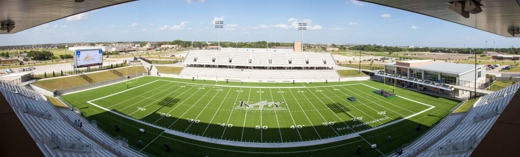 A panoramic photo taken from one of the press boxes that Katy ISD's Legacy Stadium has to offer. 