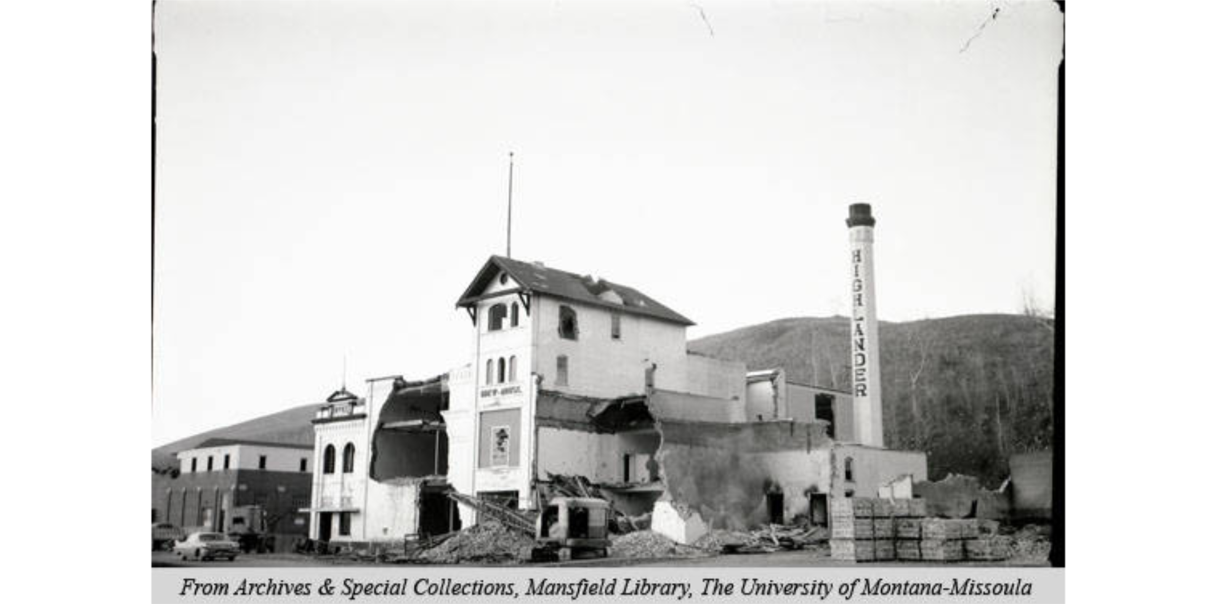 The partially destroyed brewery circa 1965