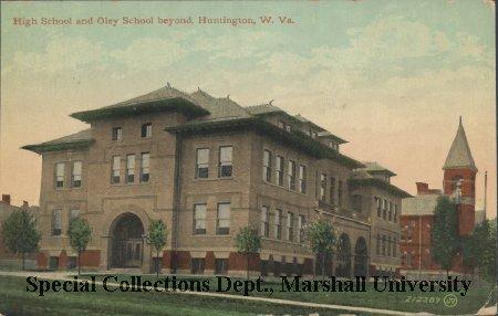Huntington High School and Oley School beyond, circa 1910
