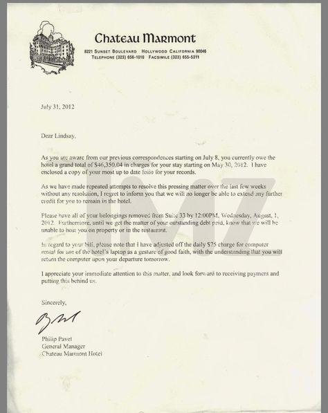 Eviction letter for Lindsey Lohan