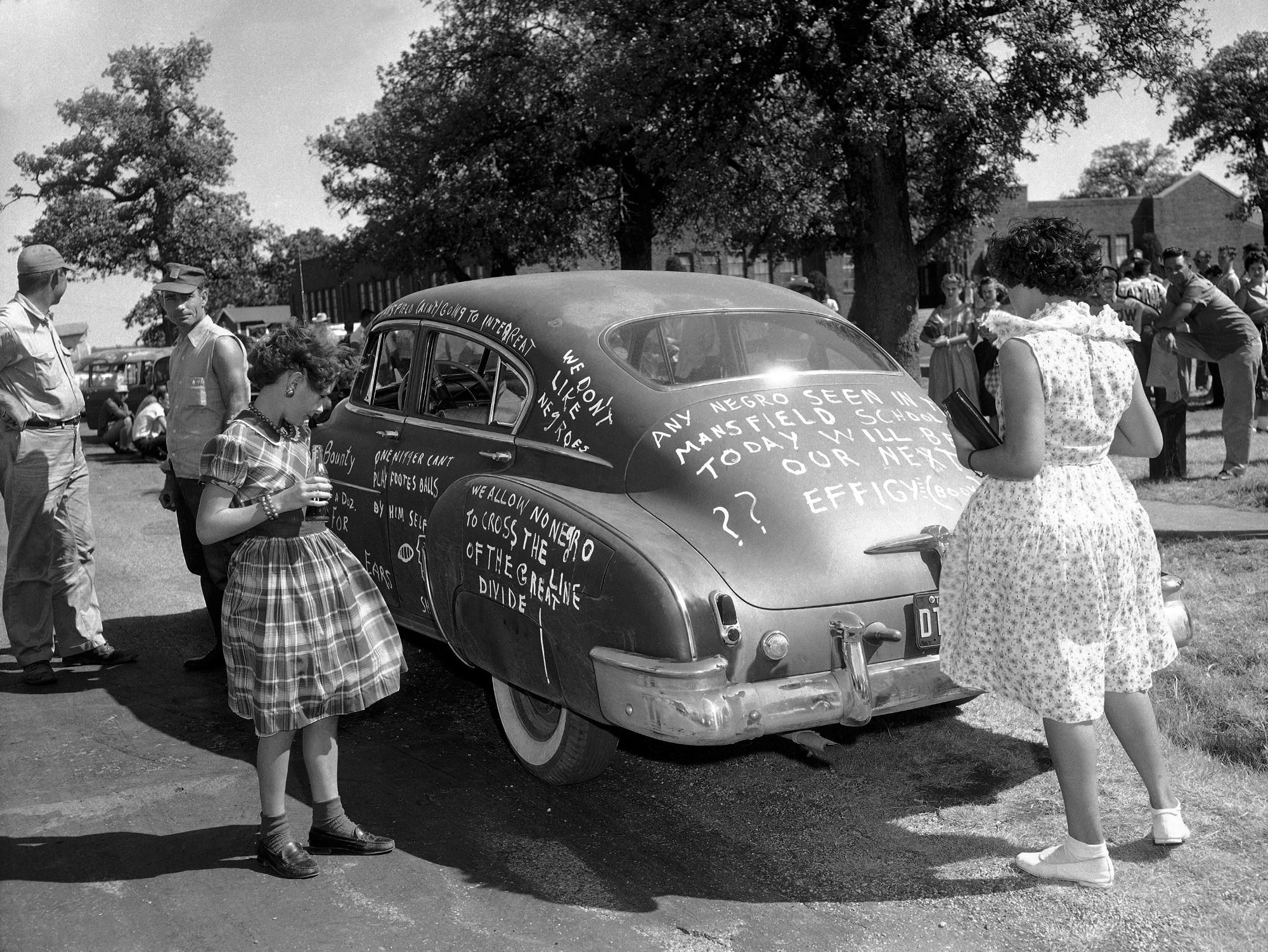 racial slurs written on cars