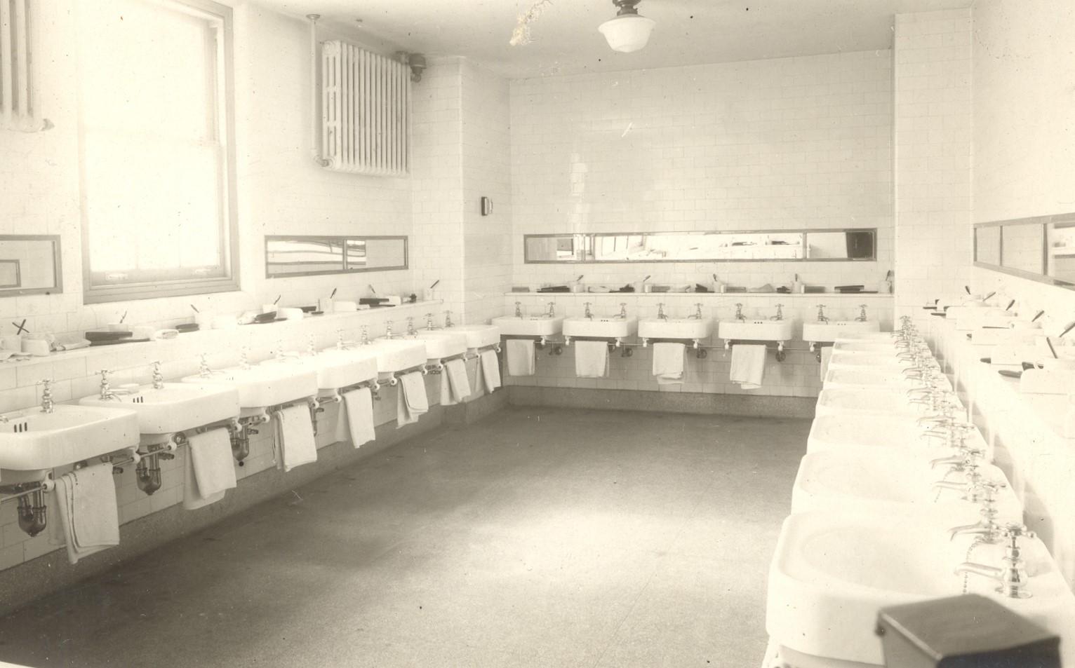 Original washroom in junior school basement.