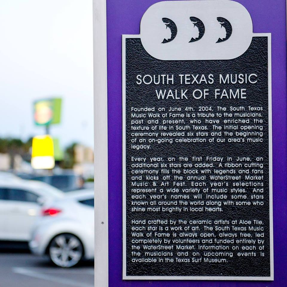 Sign by WaterStreet regarding South Texas Walk of Fame.