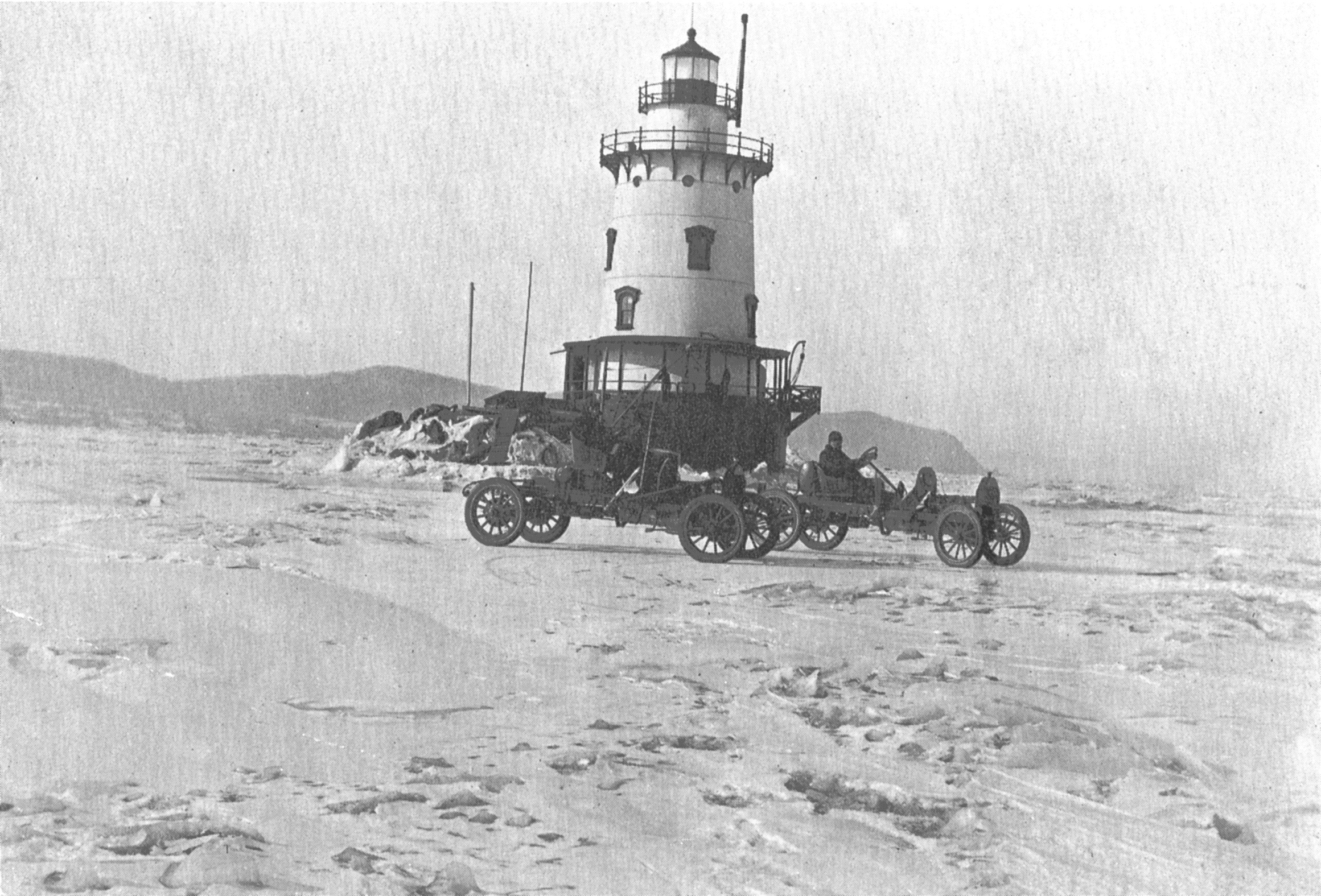 Lighthouse with Auto Racers on Frozen Hudson River (1912)