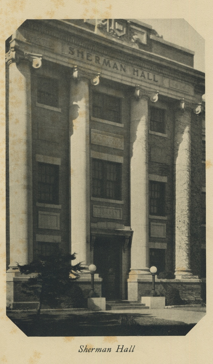 Front side of Sherman Hall, taken in 1926