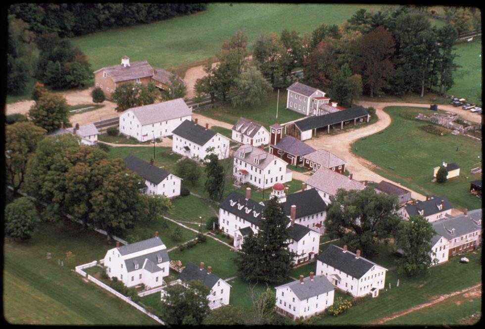 An aerial shot of the Canterbury Shaker Village reveals its large size.