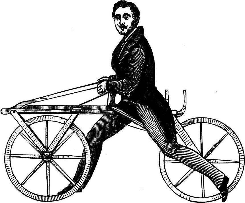 Karl von Draus riding his invention.